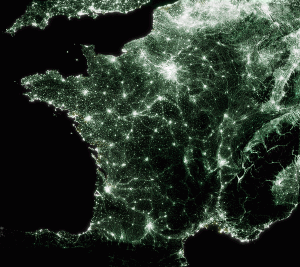 Carte de pollution lumineuse de France , version emeraude