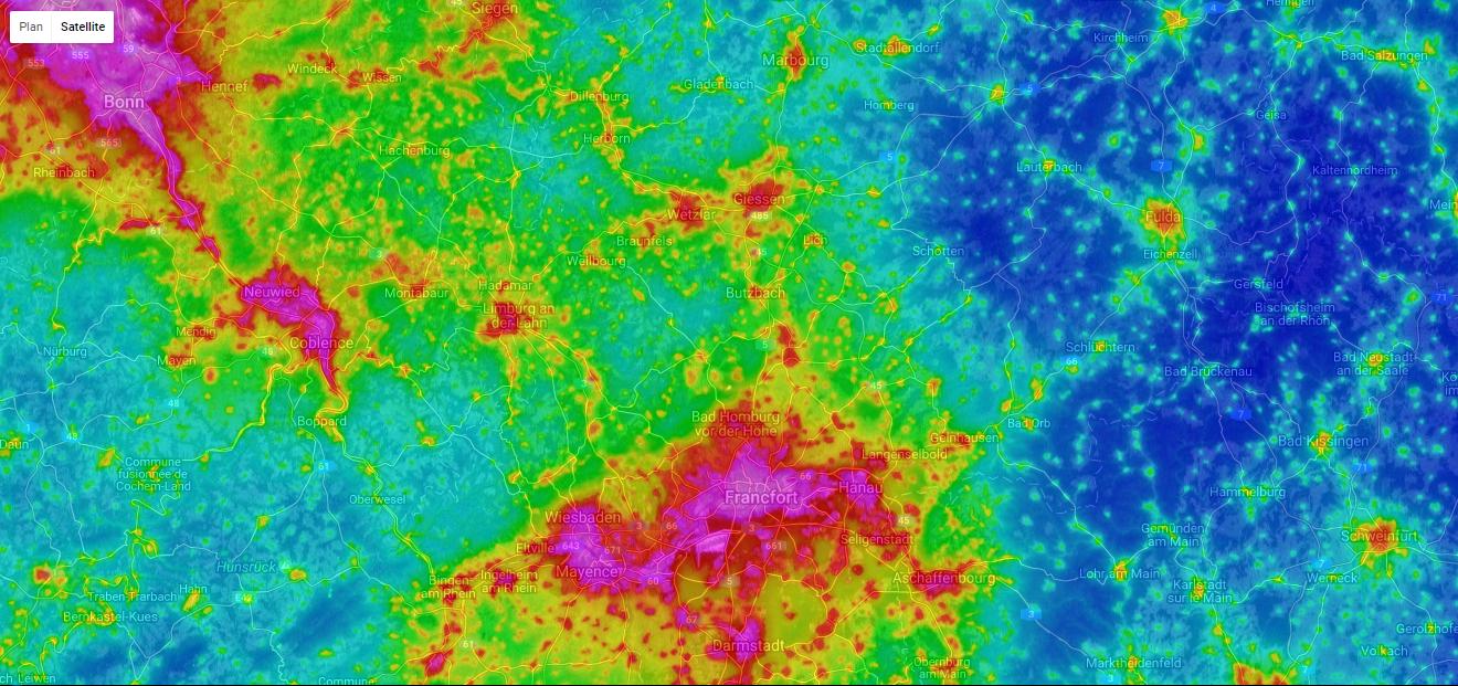 Karte der Lichtverschmutzung – AVEX 2016 – Les dossiers AVEX