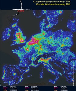 carte de pollution lumineuse euroepeene A4 AVEX 2016